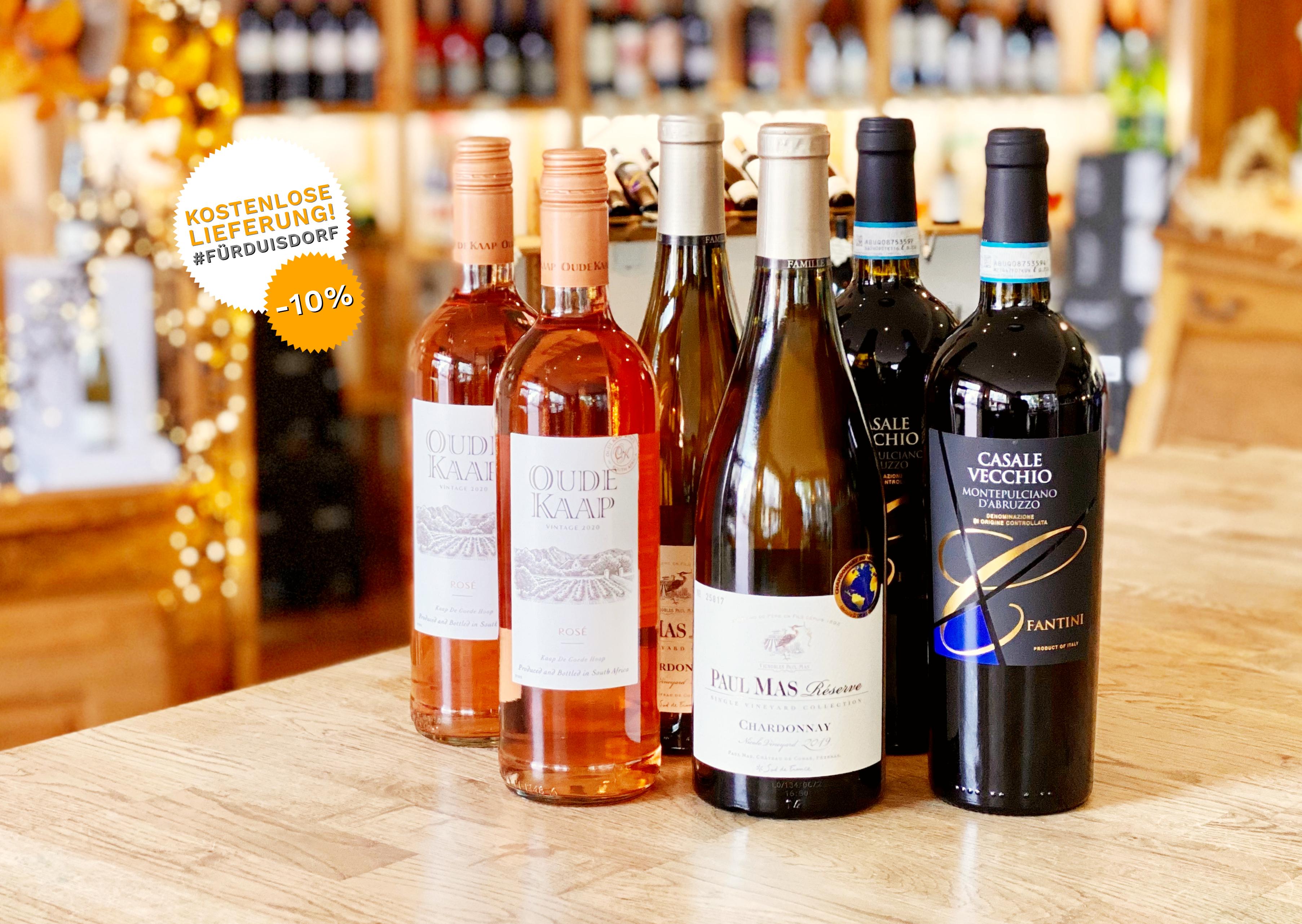 6 Flaschen gastronomieerprobter Weine aus Südafrika | Italien | Frankreich