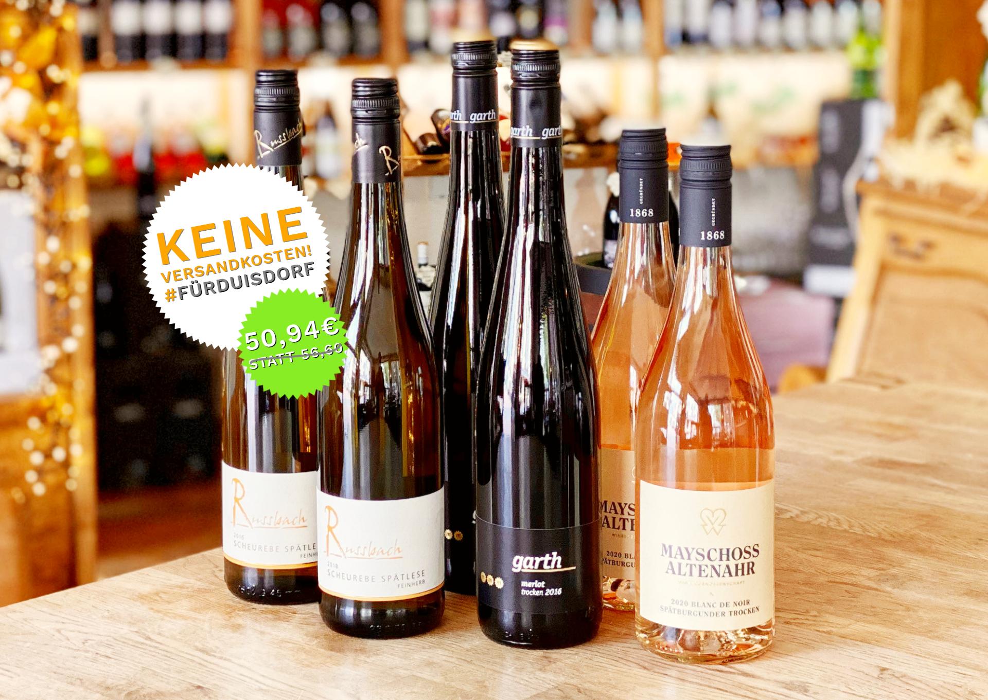 6 Flaschen beliebter Weine aus der Region