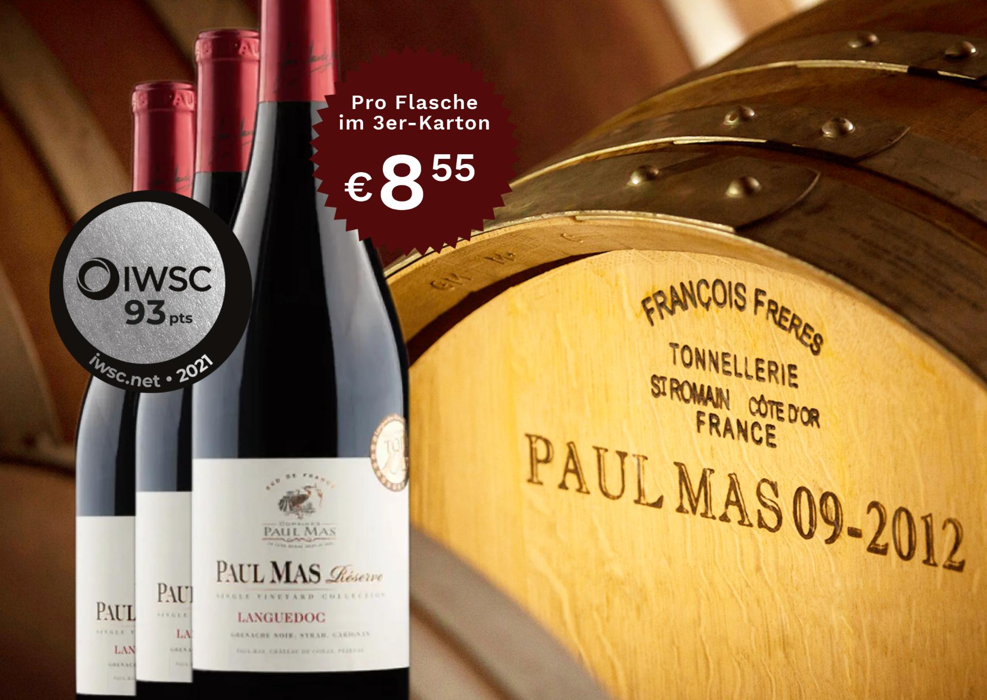 3 Flaschen Dom. Paul Mas Aop Languedoc Reserve | Domaines Paul Mas | 2019 | 0,75 Liter