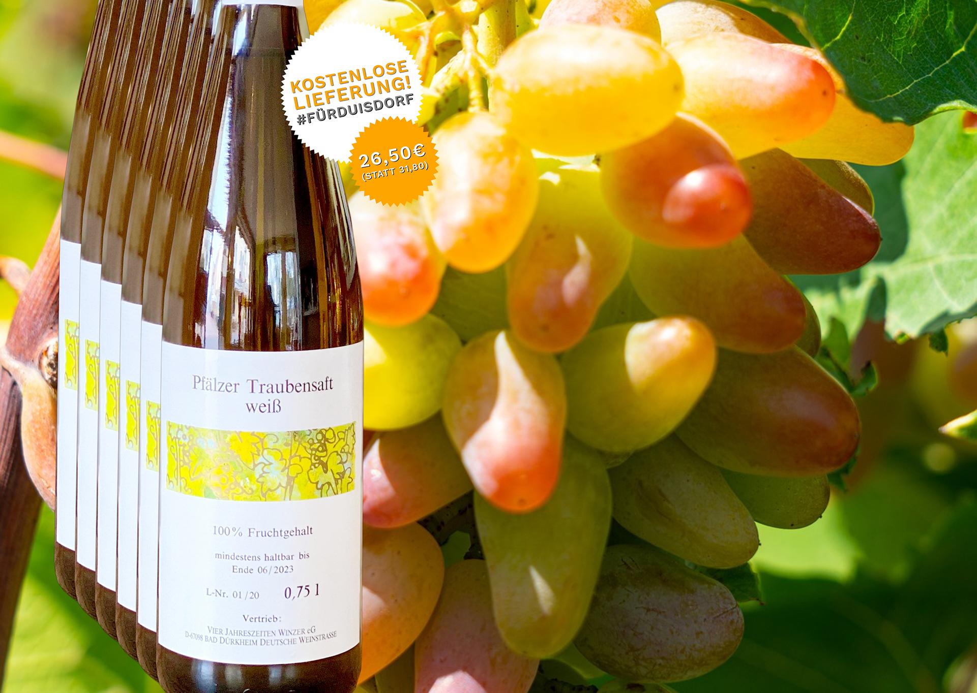 6 Flaschen Traubensaft Weiss - Weingut Palmberg