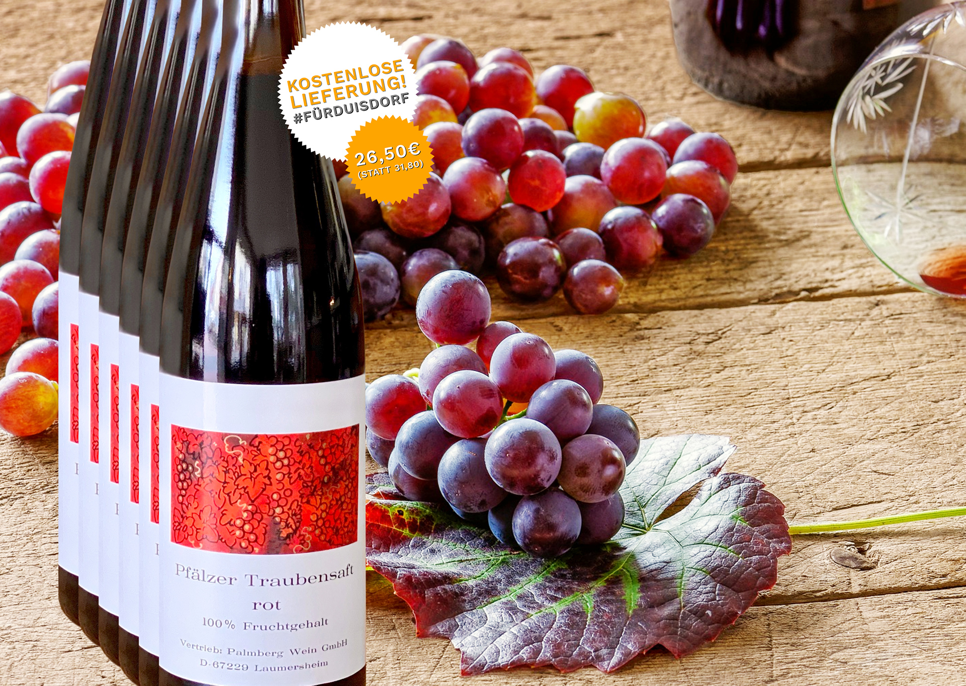 6 Flaschen Traubensaft Rot - Palmberg